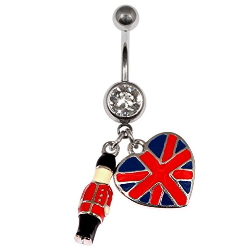 Body Jewellery Rings Bague barre nombril capitale britannique Union Jack Flag ventre barre de 1,6 mm x 10 mm (taille standard).