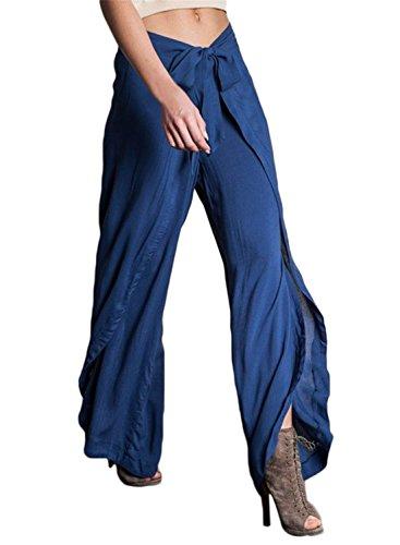 HOTAPEI Women's Linen High Waisted Wide Leg Drawstring Palazzo Pants