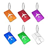 MOYYO 6 Pack Airplane Luggage Tags Aluminum Alloy Cover Case Suitcase Labels Bag Baggage Tags