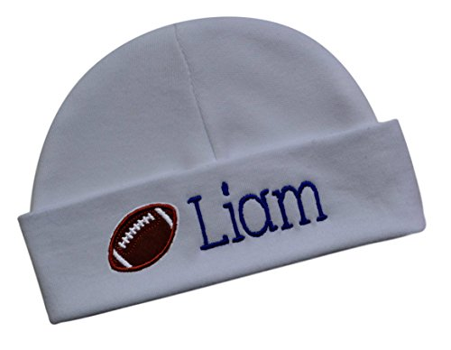 Funny Girl Designs Embroidered Baby Boy Football Hat Personalized Keepsake Custom Infant Hat With Name (White Hat)