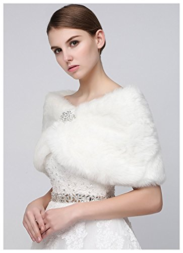 Review Sarahbridal Faux Fur Wrap Cape Stole Shawl Bolero Jacket Coat Shrug for Winter Wedding Dress