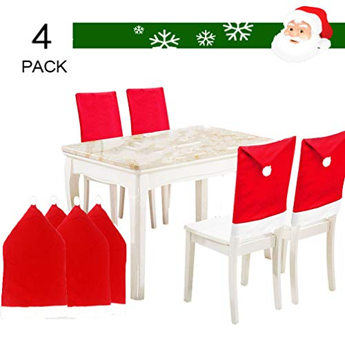 MOHSLEE 4-Pack Solid Color Santa Clause Red Hat Chair Back Cover Kitchen Dinner Table Party Decoration Set of 4 for Christmas Holiday Festive (4 Pack)