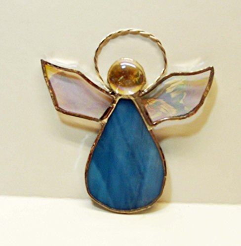 Small Angel Sun Catcher or Christmas Ornament Handmade Blue and White (White Wispy Iridescent Stained Glass)