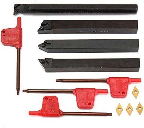 GENERICS LSB-Werkzeuge, 4 Außendrehmaschine Innendrehwerkzeughalter S10K-SDUCR07 + SDJCR1010H07 + SDJCL1010H07 + SDNCN1010H07 + 4 Wendeplatten DCMT070204