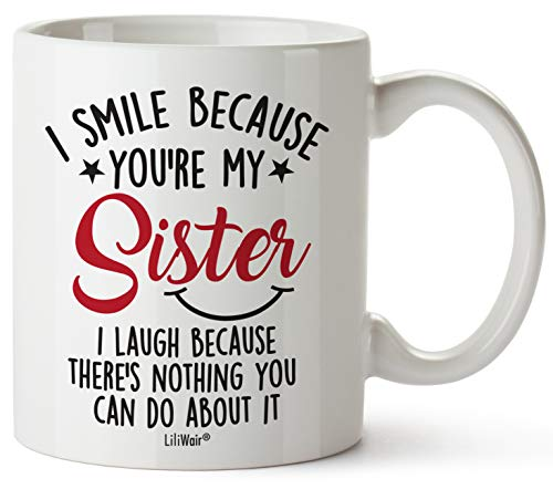 LiliWair Sister Gifts From Sister. Big Sisters Gift From Brother. Little Sister Birthday Gifts. Funny Best Coffee Mug Cup Ideas. New Happy Funny Mugs Presents From Sister In Law