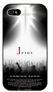 Jesus is coming soon - Movie poster effect - Bright cross - Bible verse iPhone 4 / 4s black plastic case / Christian Verses