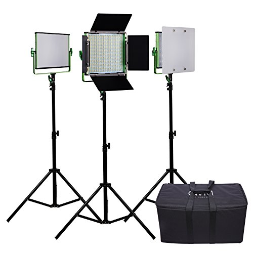 3 LED Video Light and Stand Lighting kit; GVM Dimmable Bi-color 520 Photography Lights Aluminum Alloy Heat Dissipation Shell with Suitcase ;Adapter;Soft Diffusion Filter ; Barn door by GVM