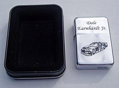 (Dale Earnhardt Jr car #8 engraved Chrome Plated Brass Refillable Lighter in black tin case)