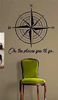 Compass Rose Oh The Places Youll Go Version 2 Nautical Sticker Decal Wall Vinyl Art Beach Ocean Quote