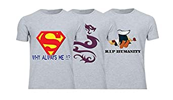 Geek ET1790 Set Of 3 T-Shirt For Men-Grey, Small