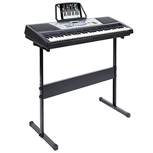 Hamzer 61 Key Electronic Music Electric Keyboard Piano with Stand - Black