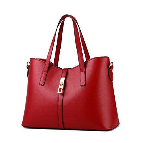 Mano a Rosso Borsa capacità Moda 3 Borse Donna Tracolla mode Blu Donna Elegante Tote Tote Grande 1 a Pelle Borse PU in xRpZgRaw