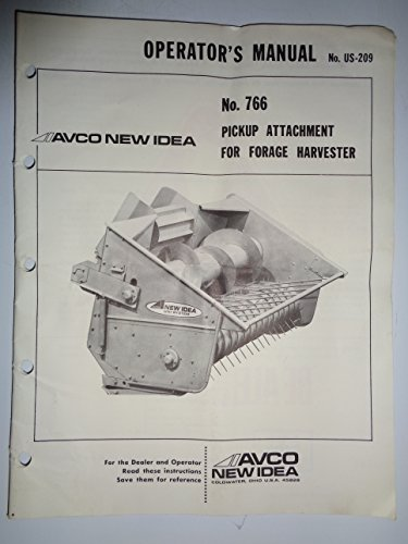 New Idea 766 Pickup Attachment for Forage Harvester Parts/Operators Owners Manual 3/80 original