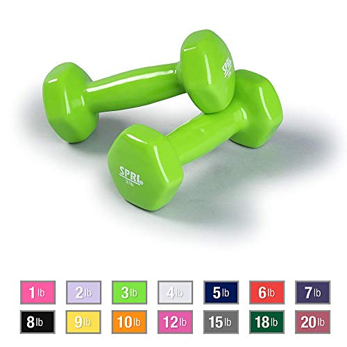 SPRI Dumbbells Hand Weights Set of 2 – Vinyl Coated Exercise & Fitness Dumbbell for Home Gym Equipment Workouts Strength…