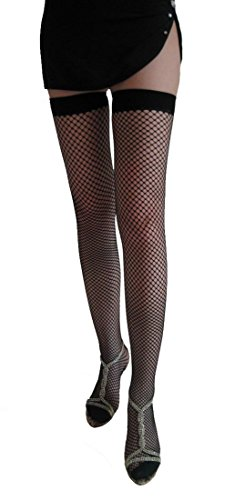 COSIVIA Sexy Thigh high Lace Fence Net Stockings (Red) (Red Fence Net Thigh Highs)