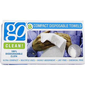 Compact Disposable Towels - 100% Biodegradable Cloth, 8 ct,(Go Clean!)