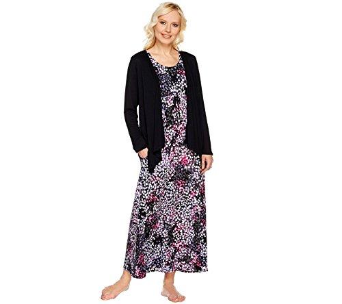 Carole Hochman Hydrangea Maxi Dress Set A273582, Black, P1X (Hochman Cardigan Carole)