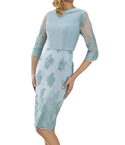 mit Knielang Spitze Brautmutterkleider Blau Langarm Abendkleider Festlichkleider Etuikleider Blau Damen Charmant npaYqw8a