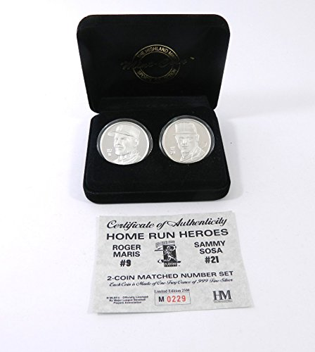 Highland Mint Maris/Sosa Two Troy Ounce Silver 2 coin Set # out of 2,500