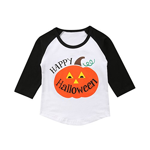 Toddler Baby Happy Halloween Costume,Boy Girl Long Sleeve Pumpkin Letter Print T Shirt Top Outfits Set -