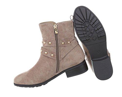 Damen Schuhe Stiefeletten Nieten Boots Hellbraun