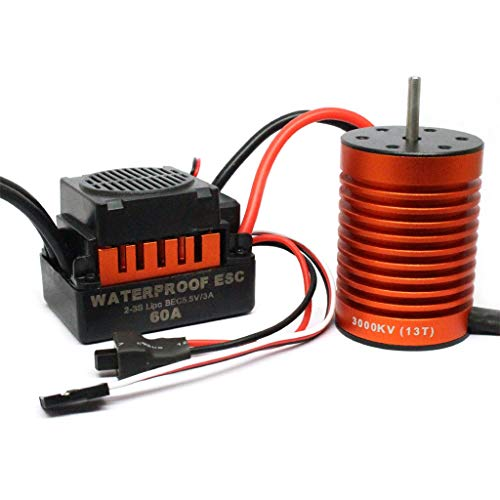Ktyssp 13T 3000KV Brushless Motor+60A ESC for 1/10 RC Car Truck from Ktyssp Car Model Accessories