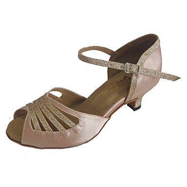 XIAMUO Individuelle Damen Latein Schuhe angepasste Ferse Open Toe Tanz Sandalen mehr Farben, Beige, US 9.5-10/EU 41/ UK 7,5-8/CN 42