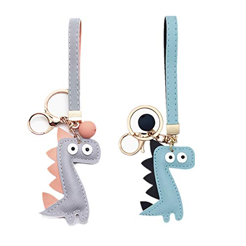 MUAMAX Dinosaur Key Chains for Women Girl Girlfriend,Bag charm,Keychain for Car Keys,Gift for Her (Blue+Grey) - 2 Chains Key