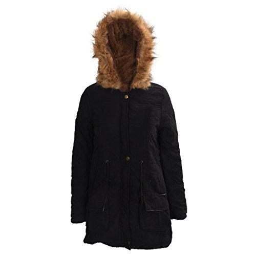TOOGOO (R)Mujer Abrigo largo de acolchado grueso de invierno de piel encapuchado Ropa exterior Chaqueta -Negro-XXL