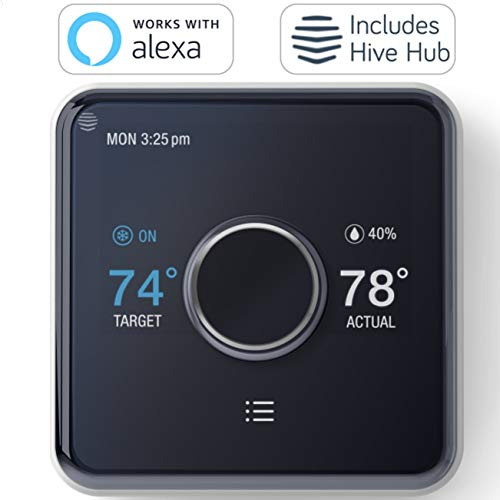 Hive Heating and Cooling Smart Thermostat Pack, Thermostat + Hive Hub, Works with Alexa & Google Home, Requires C-Wire ()