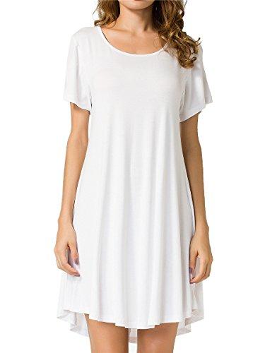 JollieLovin Women's Tunic Top Casual Short Sleeve Swing Loose T-Shirt Dress (White, S)