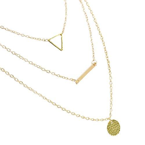 Triple Triangle Gold Pendant Choker Necklace - 5