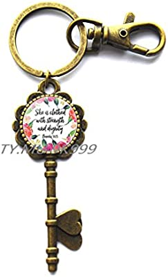 She Laughs Without Fear of Future,Proverbs 31 Woman,She is Clothed in  Strength,Bible Verse Key Keychain,Scripture Key Keychain,Christian Key