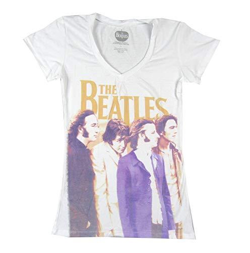 Beatles Group Profile Sublimation V Neck Juniors White T Shirt (M)