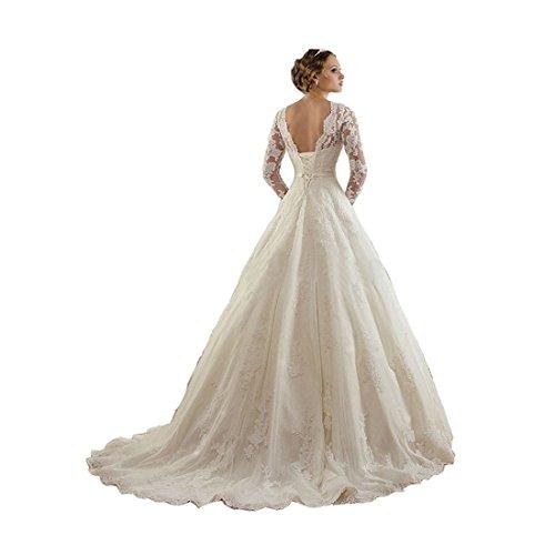 Sunweddingdress Women's Jewel Lace Applique Long Sleeve Chapel Wedding Dress by Sunweddingdress (Image #2)