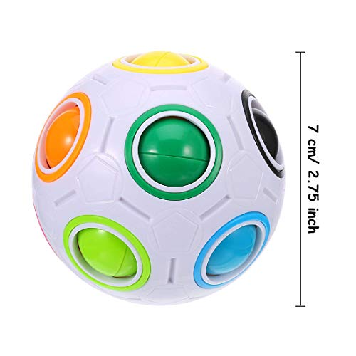 Dreamsdox Rainbow Puzzle Ball,Magic Rainbow Ball Puzzle Cube Fidget Ball,Puzzle Game Fidget Toy Stress Reliever Magic Ball for Kids and Adults, Children, Boy, Girl (White) by Dreamsdox (Image #1)
