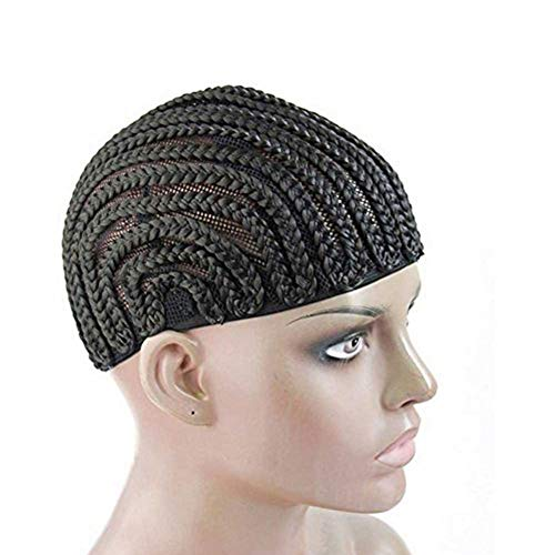 FASHION LADY Hair Black Crotchet Cornrows Braided Cap 1PC Maddle Size for Easier Sew in Braided Wig Cap Braiding Wig Cap for Making Wig (Middle Size) (Best Cornrow Pattern For Crochet Braids)