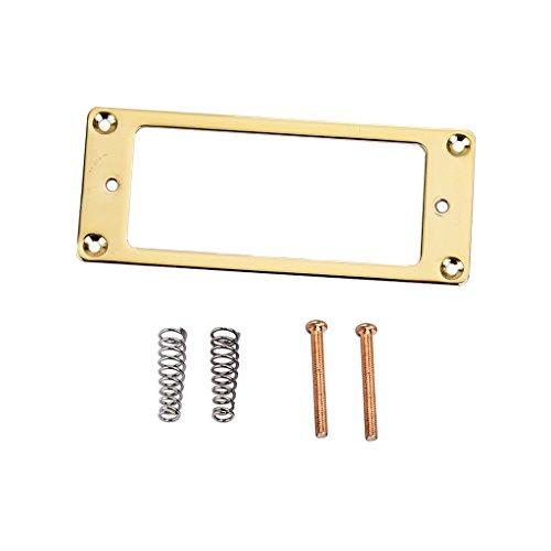 Baoblaze Golden Mini Pickup Flat Ring Frame with Screws + Springs Set for Les Paul Guitar Accessory