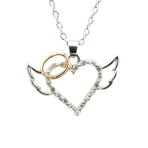 Caopixx Heart Necklace,Ladies Girl Angel Wing Necklace Women Guarded Heart Pendant Necklace Love Heart (Silver, Alloy) Gold Rhinestone Horseshoes