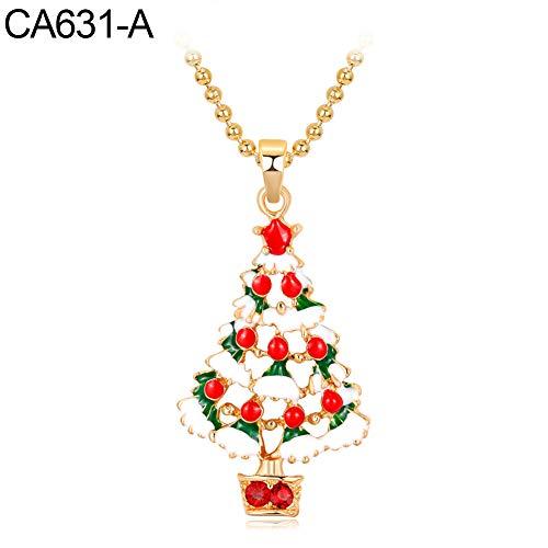 angel3292 Christmas Tree Bell Enamel Colorful Rhinestone Pendant Necklace Women Xmas Gift