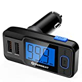 【Upgraded】 Perbeat Wireless in-Car Bluetooth FM Transmitter USB Car Charger Radio Adapter Audio Receiver Stereo Music Car Kit Hands Free Call with Micro SD/TF Card Slot, Dual USB Charging Port