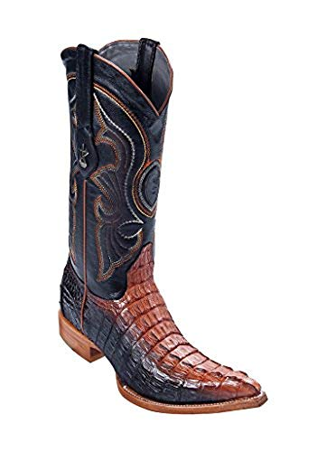 Los Altos Men's 3X-Toe Black Cognac Genuine Leather Caiman Tail Western Boots
