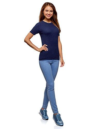 Donna A Corte Oodji Blu Maglione Con 7902n Ultra Maniche Trecce 5qnWWR6t7