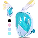 Greatever [2018 Newest Version Snorkel Mask Foldable 180 Panoramic View Free Breathing Full Face Snorkeling Mask with Detachable GoPro Mount, Dry Top Set Anti-Fog Anti-Leak for Adults & Kids