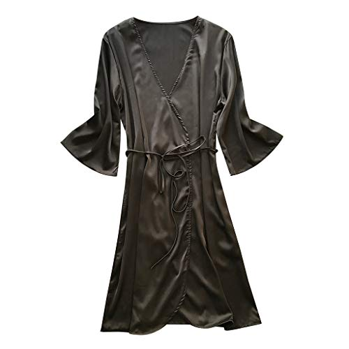 Close-dole Women's Fashion Sexy Baby Doll Waist Tie Pajamas Robe Loose Solid Color Nightgown Home Service Bathrobe Black ()