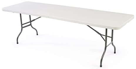 Displays2go 8 Feet Molded Plastic Top Portable Folding Table With Comfort  Handle Grip, 29.25