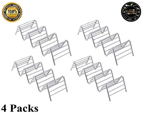 (Taco Holder 4 Pack Stainless Steel Taco Stand Taco Rack Space for 12 to 16 Hard or Soft Shell Tacos by Kitchenistry)