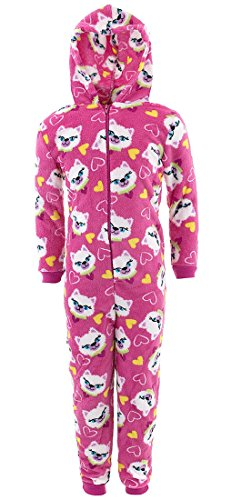 Sweet N Sassy Big Girls' Pink Cat Hooded One-Piece Pajamas