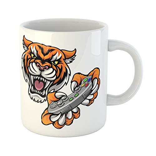 Semtomn Funny Coffee Mug Tiger Video Game Player Online Sports Gamer Animal Mascot 11 Oz Ceramic Coffee Mugs Tea Cup Best Gift Or Souvenir]()