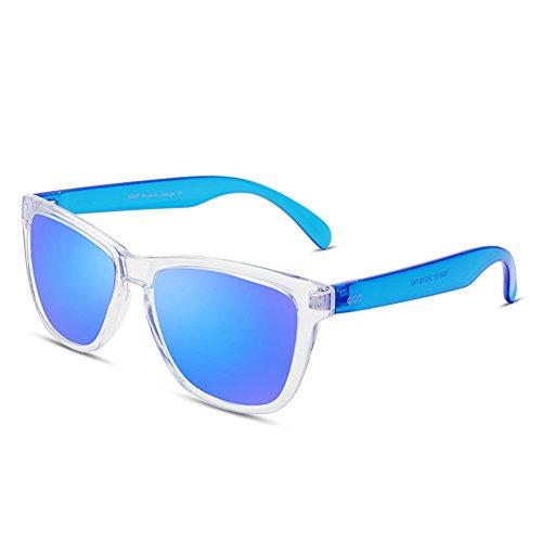 Unisex Vintage Polarized Wayfarer Sunglasses Designer Square Eyewear for Men/Women by BLUEKIKI YEUX(Transparent frame blue lens, - Wayfarer Transparent